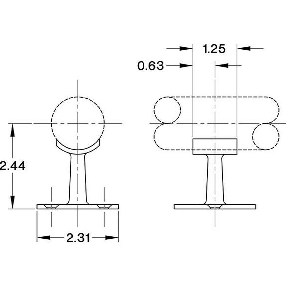 "Low Saddle Post - Polished Brass - 1.5"" OD Specs"