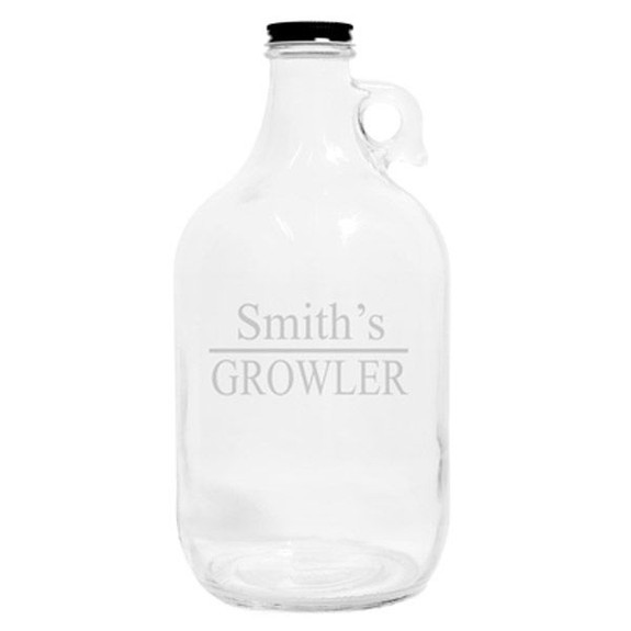 Personalized Glass Beer Growler Empty