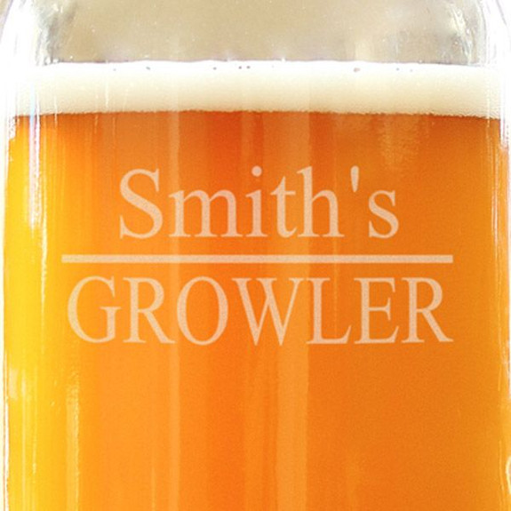 Personalized Glass Beer Growler - With Name Close Up