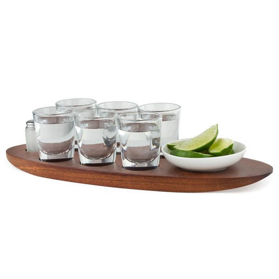 Cantinero Tequila Tasting Set with Serving Tray & Shot Glasses - 9 Pieces