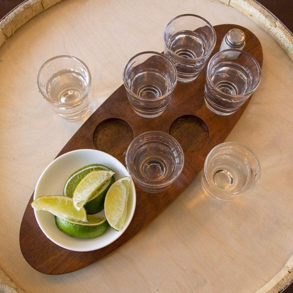 Cantinero Tequila Tasting Set with Serving Tray & Shot Glasses overhead