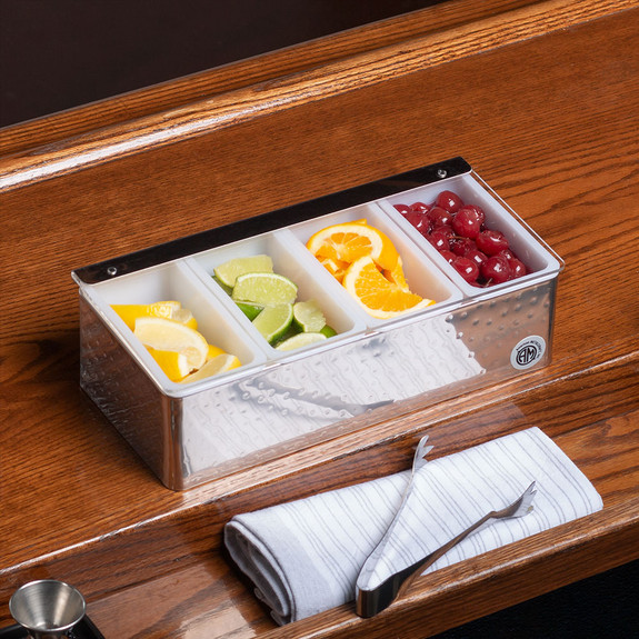Bar Garnish Tray - Hammered Stainless Steel - 4 Compartments
