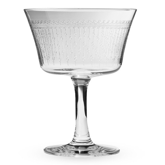 Urban Bar 1920 Prohibition Etched Crystal Retro Fizz Glasses-Set of 6