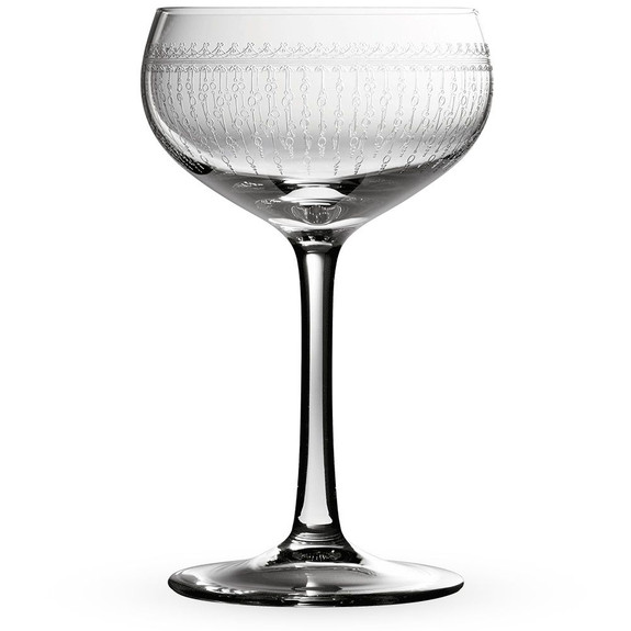 Urban Bar 1920 Prohibition Etched Crystal Retro Coupe Glasses Set of 6