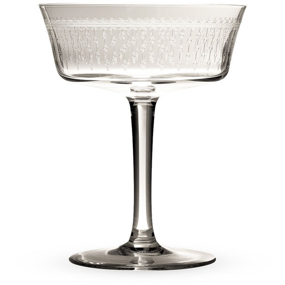 Urban Bar 1920 Prohibition Etched Crystal Retro Fizzio Glasses Set of 6