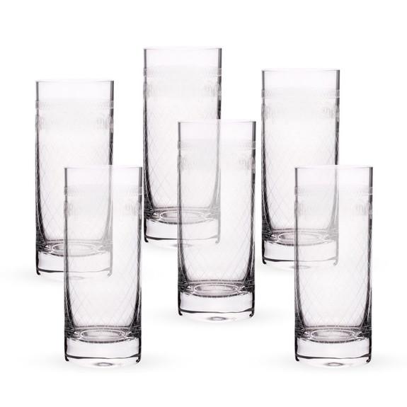 Urban Bar Etched Crystal 1910 Retro Hi-Ball Glasses