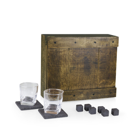 Whiskey Lover's Oak Chest Gift Set - 11 Pieces