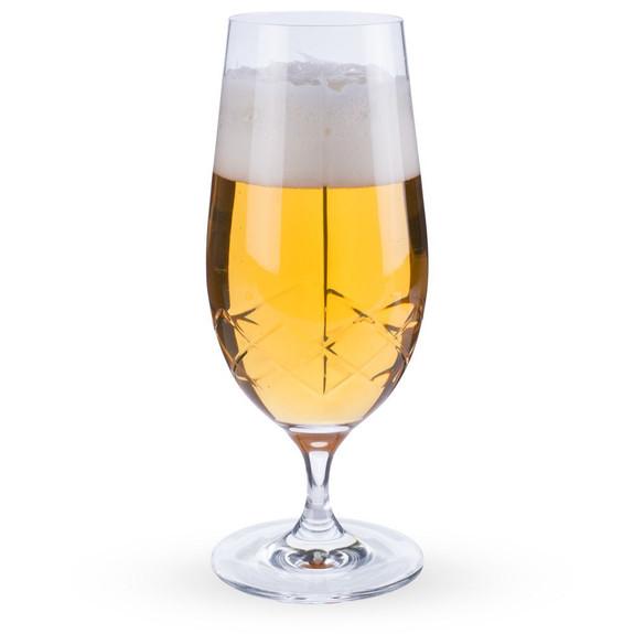 Urban Bar Ginza Cut Crystal Stemmed Beer Glasses - 15.5 oz - Set of 6