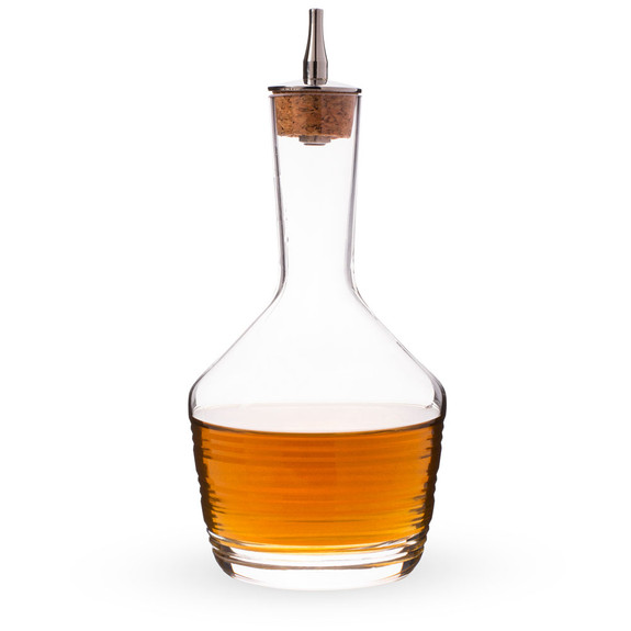 Urban Bar Bitters Bottle - Horizontal Cut Glass with Stainless Steel Dasher Top - 200ml