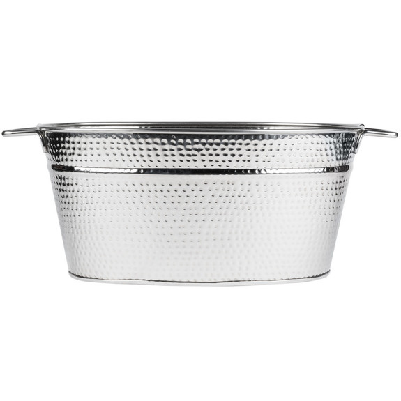 Heavy-Duty Beverage Party Tub - 25 Qt - Hammered 18/8 Stainless Steel