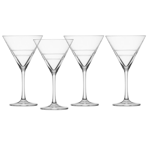 Crafthouse by Fortessa Tritan Crystal Etched Martini Glasses - 9.9 oz - Set of 4