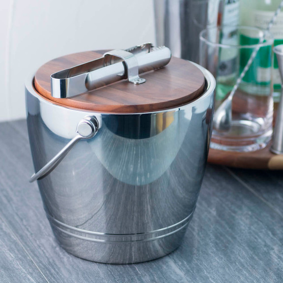 Crafthouse by Fortessa Round Stainless Ice Bucket with Wood Lid & Tongs - 3.3 Quarts