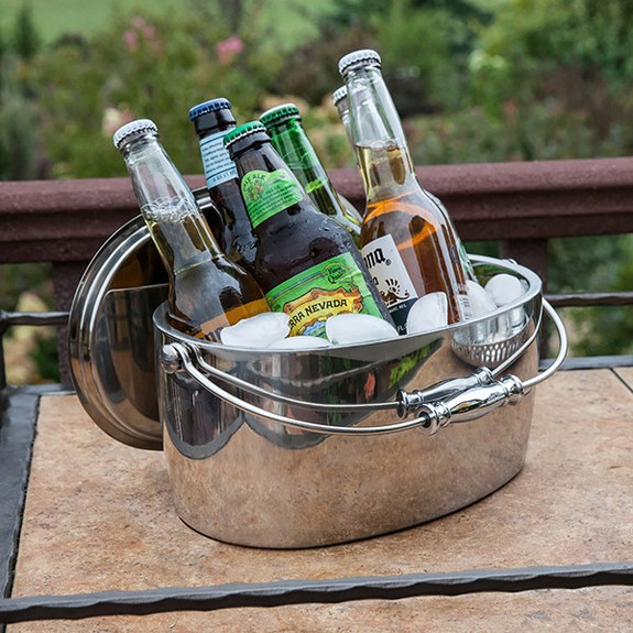 Crafthouse by Fortessa Double Walled Stainless Oval Ice Bucket with Lid & Handle - 4.6 Quarts