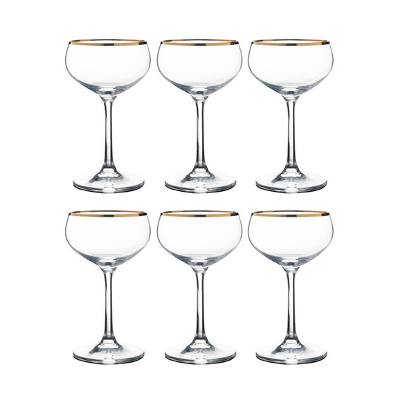 Urban Bar Retro Crystal Coupe Glasses with Gold Plated Rims - 7.1 oz - Set of 6