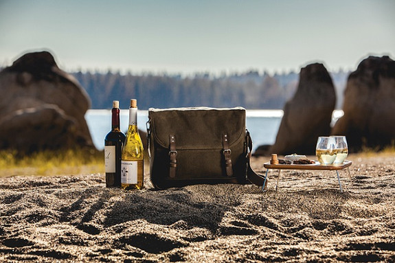 Adventure Wine Tote Travel Set - 6 Pieces - Holds 2 Wine Bottles