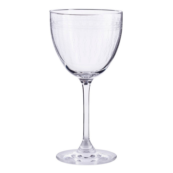 Urban Bar 1920 Prohibition Etched Crystal Nick & Nora Retro Cocktail Glasses - 5.75 oz - Set of 6