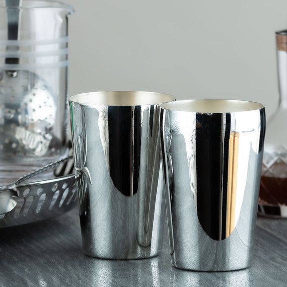 Urban Bar Handmade Premium Silver Plated Stainless Tall & Short Boston Shaker Tin Set