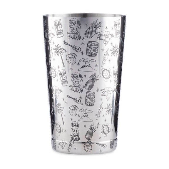 Urban Bar Tiki Pattern Weighted Tall & Short Boston Shaker Tin Set - Stainless Steel