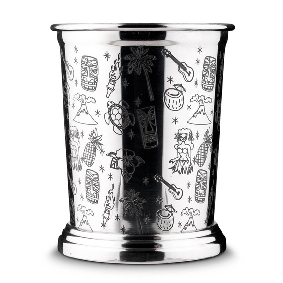 Urban Bar Etched Tiki Stainless Steel Mint Julep Cup - 13.5 oz