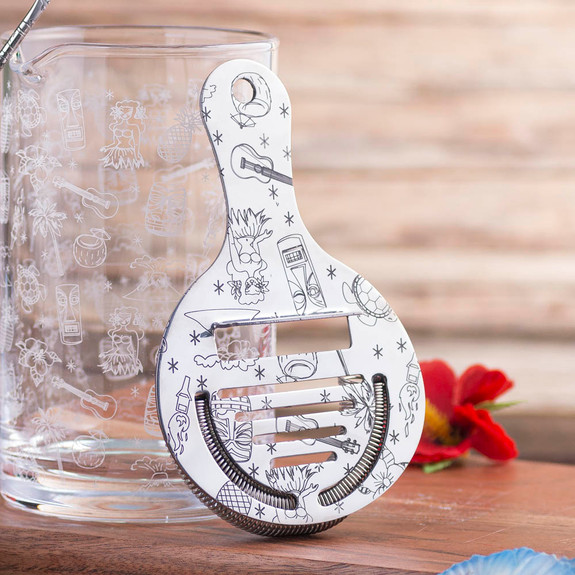 Urban Bar Etched Tiki Stainless Steel Coley Cocktail Strainer