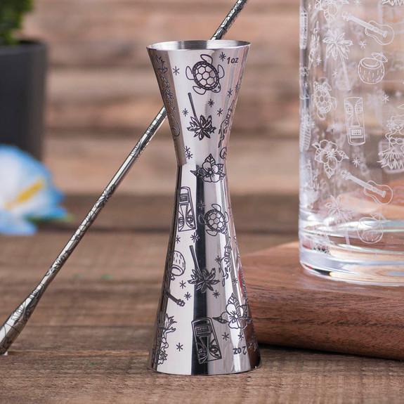 Urban Bar Etched Tiki Aero Stainless Steel Cocktail Jigger - 1oz & 2oz
