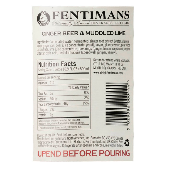 Fentimans Ginger Beer & Muddled Lime - Nutritional Facts