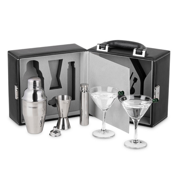 Martini Travel Bar Set with Case - 9 Pieces