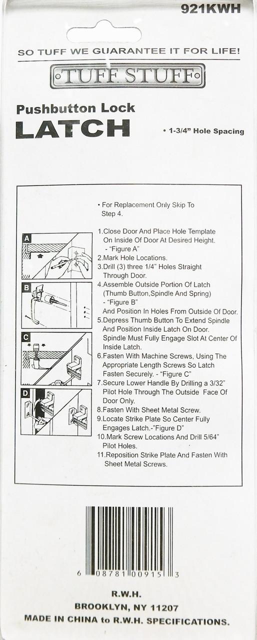 Tuff Stuff Pushbutton Lock Latch Storm Screen Door Handle