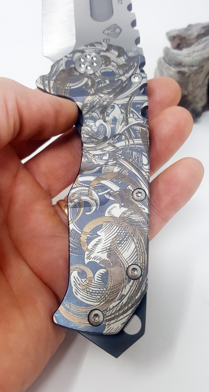 Medford Knife & Tool Praetorian T Tanto Point Tumbled CPM S35VN Filigree Laser Theme