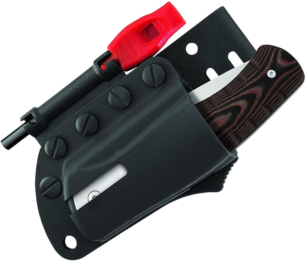 "Buck Large Folding Selkirk Knife Micarta w/ Ferro Rod (3.25"" Satin) 0836BRS-B"