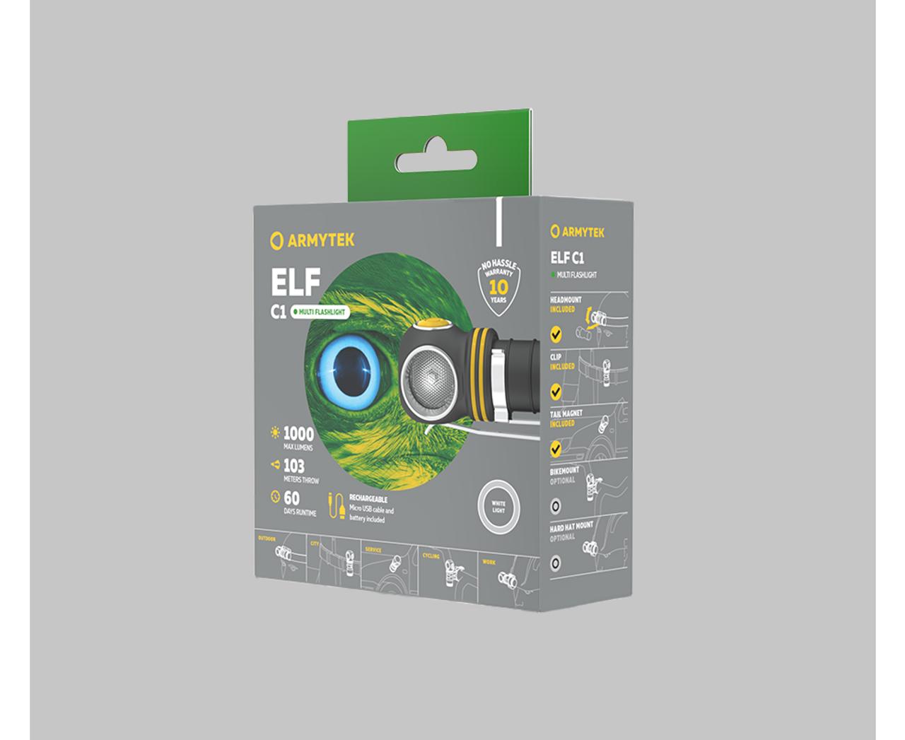 Armytek Elf C1 Multi Light Flashlight 1000 Lumen Micro USB