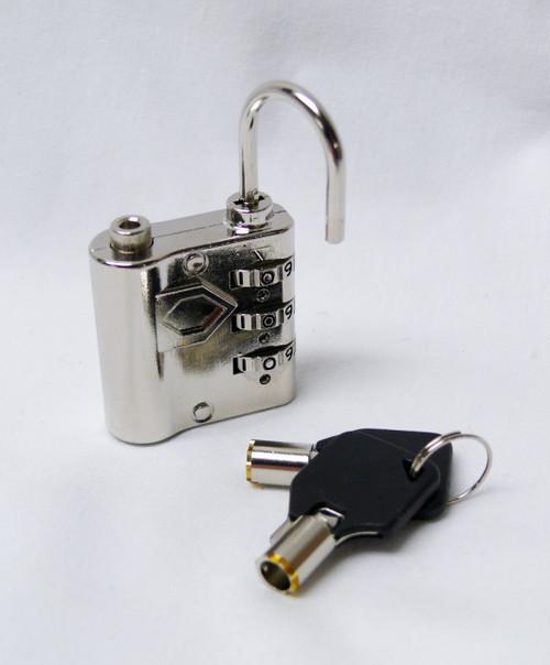 Small Chrome Luggage Lock with Tubular Key Bypass