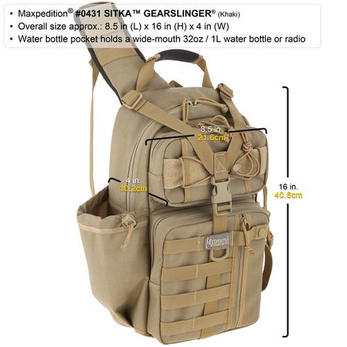 Maxpedition 0431K Sitka Gearslinger Tactical Pack Backpack Khaki