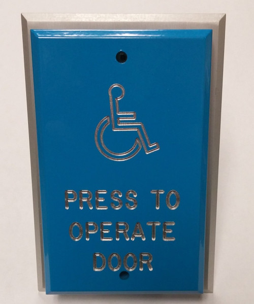 "Deltrex F106-BE32 Blue ""Press To Operate Door"" Push Plate"