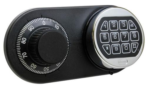 Amsec Lock Duo Shown With Chrome Keypad, Black & White Dial