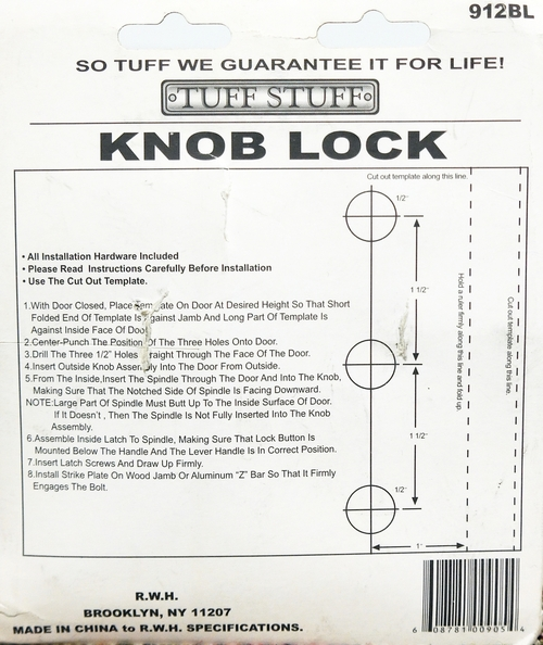Tuff Stuff Knob Keyed Lock Latch Storm Screen Door Handle Black 912BL