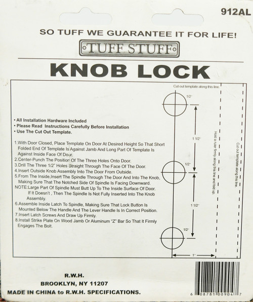 Tuff Stuff Knob Keyed Lock Latch Storm Screen Door Handle Aluminum 912AL