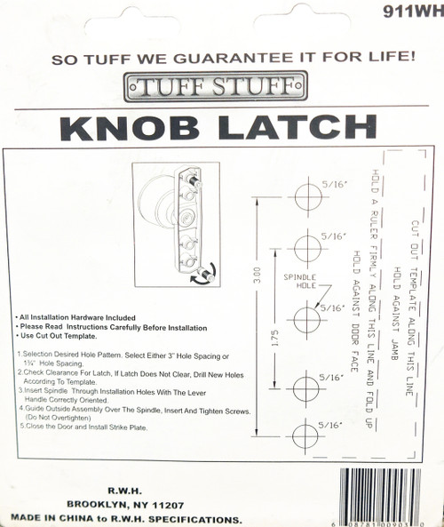 Tuff Stuff Knob Latch Storm Screen Door Handle White 911WH