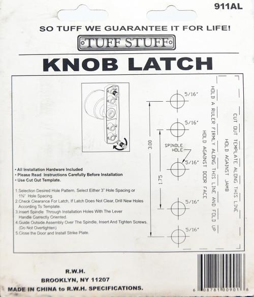 Tuff Stuff Knob Latch Storm Screen Door Handle Aluminum 911AL