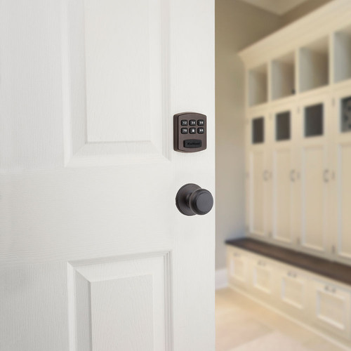 Outside Door View. Passage lock shown below the deadbolt lock is not included.