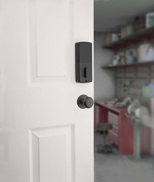 Inside door View. Passage lock shown below the deadbolt is not included.