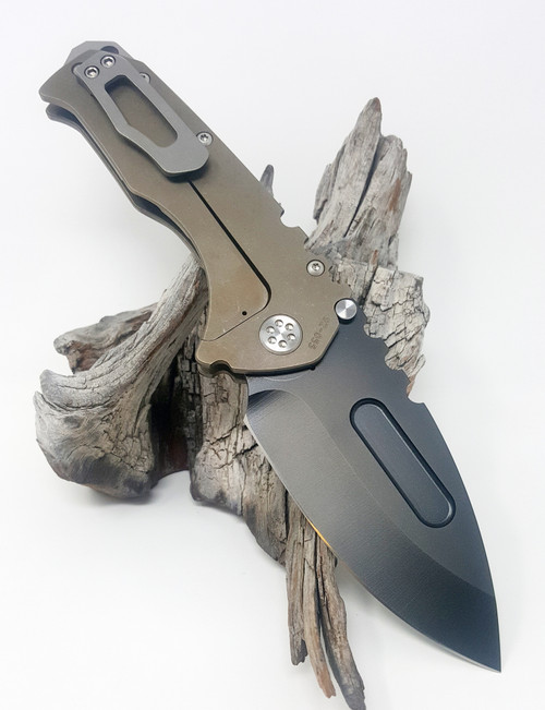 Medford Knife & Tool Praetorian T Drop Point Tumbled PVD 3V Barbed Wire Laser Theme