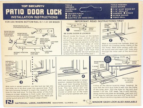 National Lock Hardware Patio Door Lock V8742-2C Sliding Alumn Wood