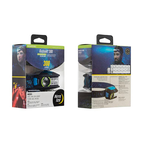 Nite Ize Radiant 300 Lumen Rechargeable Headlamp R300RH-03-R8 Blue
