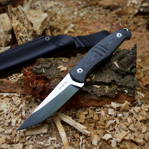 GIANTMOUSE GMF2-DB Black Micarta/N690 With Sheath