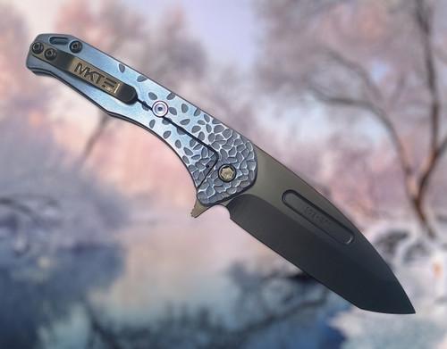 Medford Knife & Tool Praetorian Slim Flipper S35VN Custom Sculpted Blue/Violet Falling Leaf