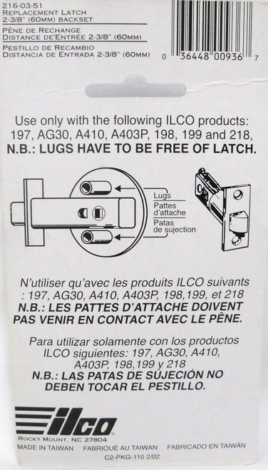 "Ilco Replacement Latch 2 3/8"" Backset"