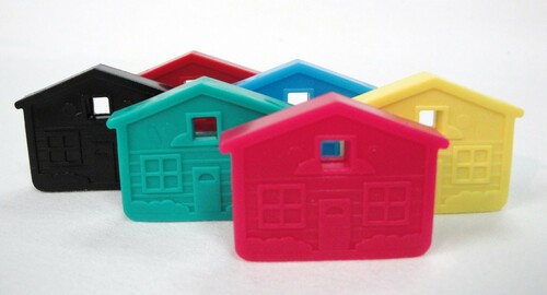 House Shaped Key Caps Assorted Colors Set of 6
