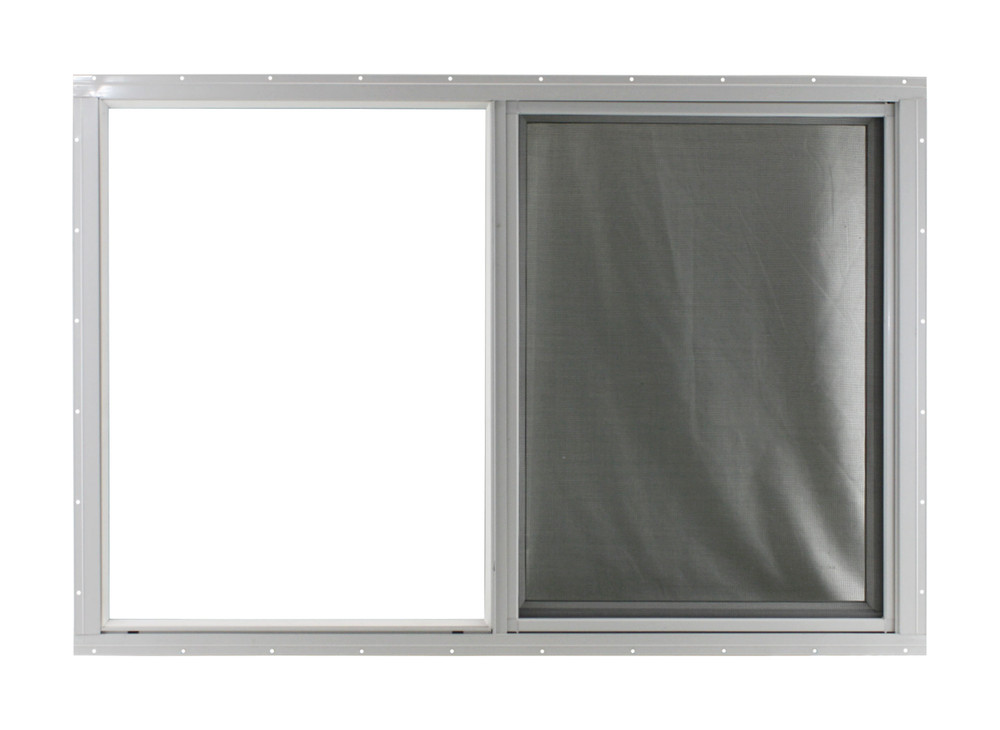 "36"" x 24"" White Flush Horizontal Slider with No Grid (Front)"