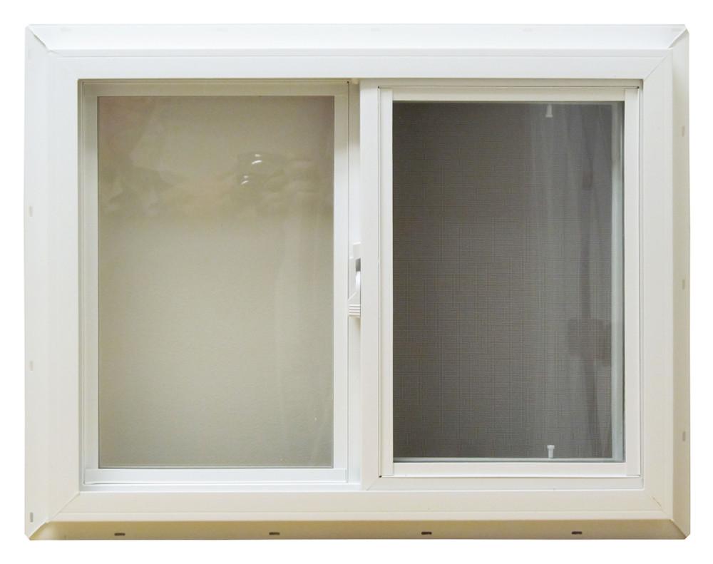 "30"" x 18"" Horizontal Slider Double Pane Insulated PVC Frame"